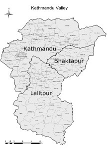 b-Map-of-Kathmandu-valley-within-the-valley-Kathmandu-Bhaktapur-and-Lalitpur-districts